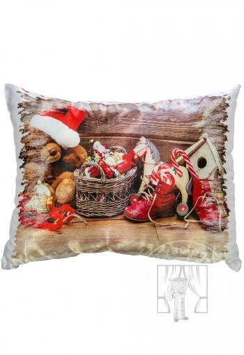Dekoračný vianočný vankúš - hračky