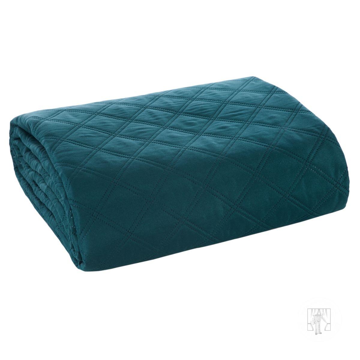 Prehoz na posteľ BONI tmavý tyrkysový