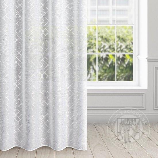 Záclona SKYE na krúžka bielo-strieborná 140x250cm